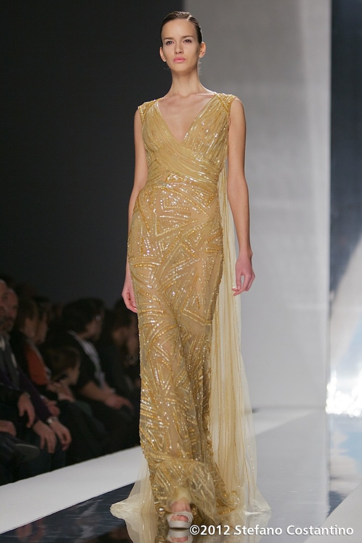 20120128 - MODA - ROMA: RICAMI PREZIOSI PER IL LIBANESE JACK GUISSO. Gli abiti della collezione primavera/estate 2012. PHOTO: STEFANO COSTANTINO