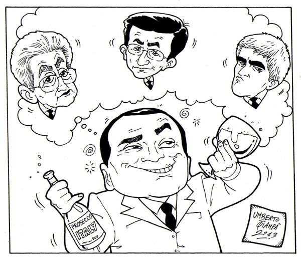 Berlusconi -Vignetta 04 - 22-2-2013 Berlusconi brinda