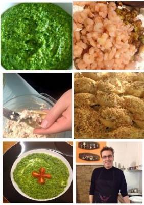 preparazione -Conchiglioni ricotta, gamberi e zucchine al pesto di rucola