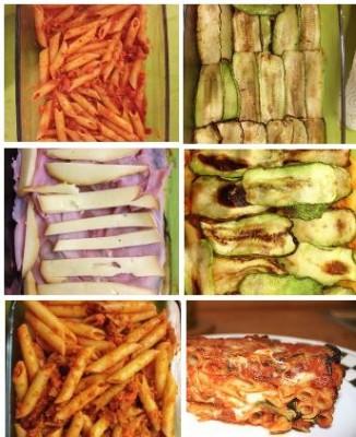 preparazione pasta la forno con zucchine