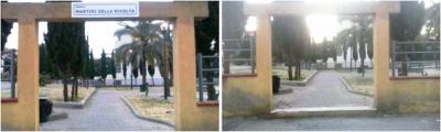 entrata piazza dei martiri prima e dopo