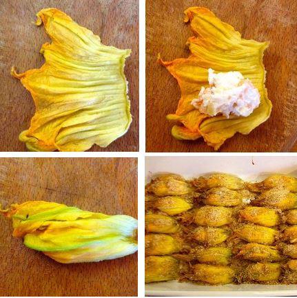 preparazione  Fiori di Zucca ripieni