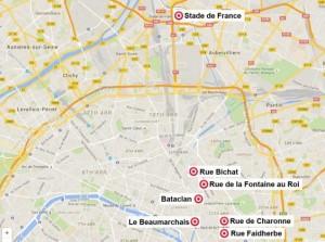 Mappa attentati Parigi 14112015