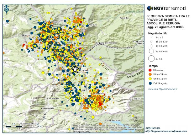 Mappa della sequenza sismica dal 24 agosto aggiornata alle ore 08:00 del 28 agosto. La stella rappresenta l'evento di magnitudo 6.0 delle 3:32 del 24 agosto.