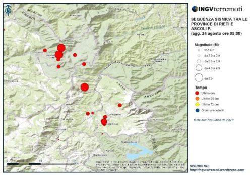 Terremoti localizzati fino alle ore 5.00. Il cerchio rosso più grande al centro della figura è il terremoto dii magnitudo 6.0. In alto, i due cerchi grandi rossi sono gli eventi di magnitudo 5.1 e 5.4.
