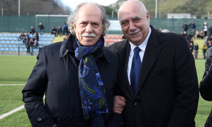 President of FIGC Carlo Tavecchio attends press conference during presentation of new federal training center in Catanzaro on February 29, 2016 in Catanzaro, Italy.