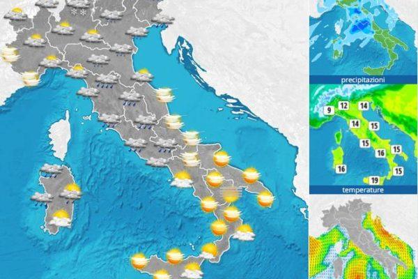 Cattivo tempo e piogge diffuse nel Centro-Nord Italia