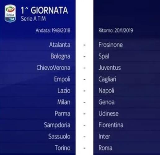 Calendario Juve E Napoli.Ecco Il Calendario Esordio Juve Col Chievo Poi Lazio