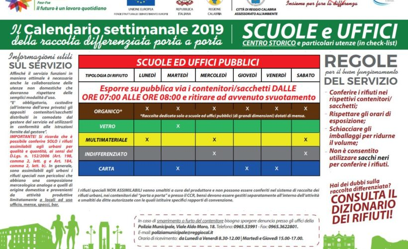 Calendario Differenziata.Reggio Calabria Nuovi Calendari Di Raccolta Differenziata
