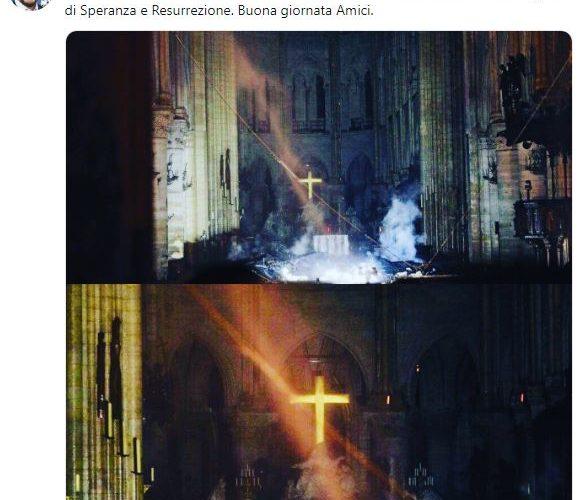 Salvini guarda il Grande Fratello mentre Notre Dame brucia