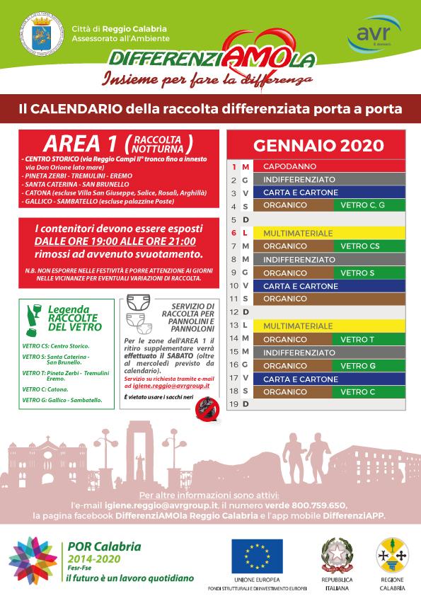 Reggio Calabria, calendari di raccolta differenziata porta a porta